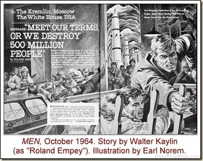 10 - MEN, Oct 1964. Earl Norem art for Walter Kaylin story