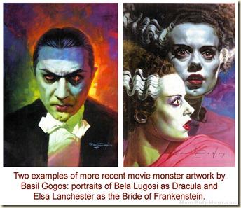 Basil Gogos art, Bela Lugosi & Elsa Lanchester WM
