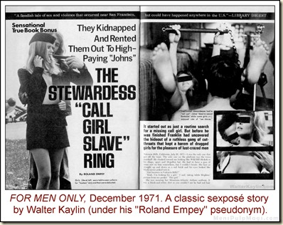 FOR MEN ONLY, Dec 1971, Walter Kaylin stewardess story
