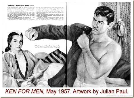 KEN FOR MEN, May 1957. Julian Paul artwork WM