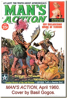 MAN'S ACTION, April 1960. Cover by Basil Gogos