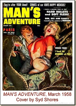 MAN'S ADVENTURE, March 1958, cover by Clarence Doore