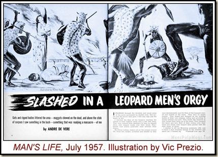 MAN'S LIFE July 1957. Leopard men art by Vic Prezio WM2
