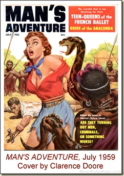 MAN'S ADVENTURE, July 1959, cover by Clarence Doore