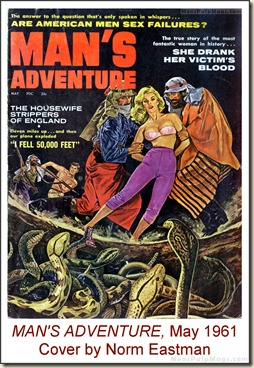MAN'S ADVENTURE, May 1961, cover by Norm Eastman