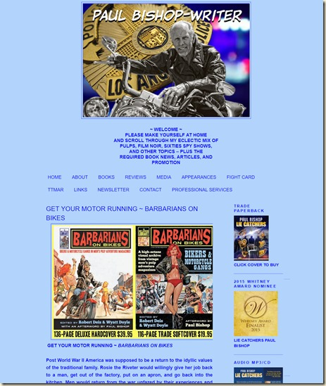 Paul Bishop Writer website