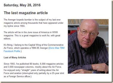 Robert F. Dorr blog post May 2016