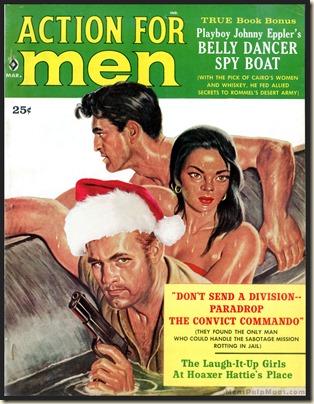 ACTION FOR MEN, March 1960 Xmas spoof, Rafael DeSoto art REV