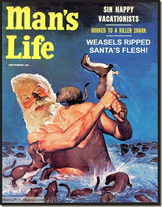 MAN'S LIFE, Sept 1956 Xmas spoof, Wil Hulsey art REV