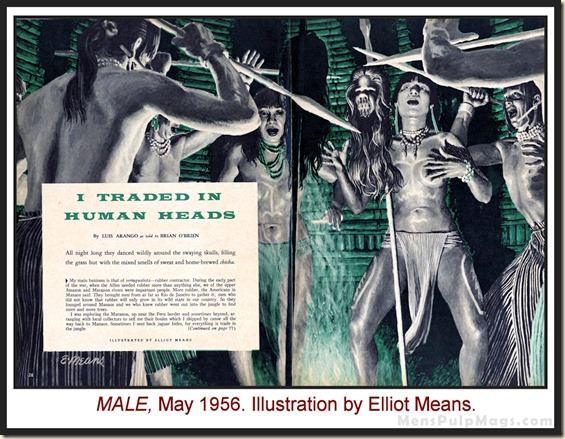 MALE, May 1956, headhunter art by Elliot Means