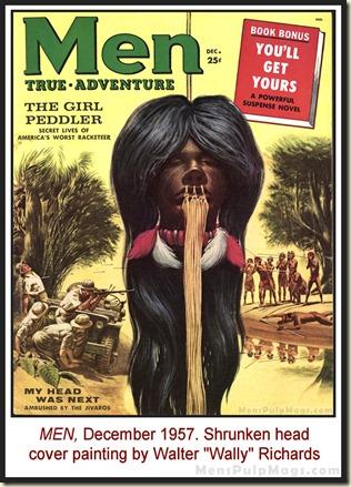 MEN, Dec 1957 - Shrunken head cover by Wally Richards REV