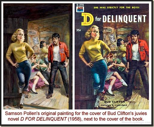 Samson Pollen cover art, D FOR DELINQUENT