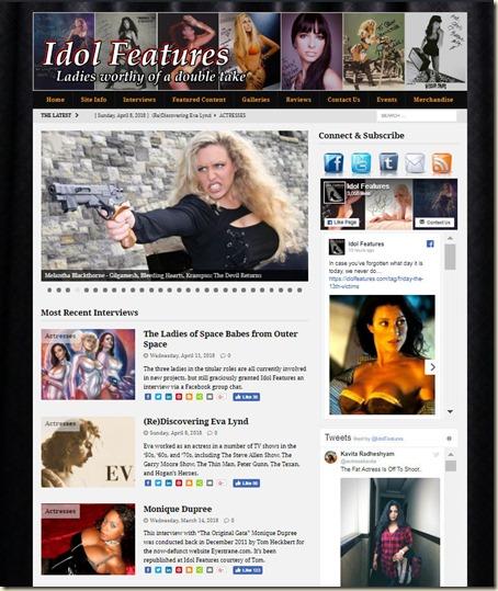 IdolFeatures.com website home w Eva Lynd