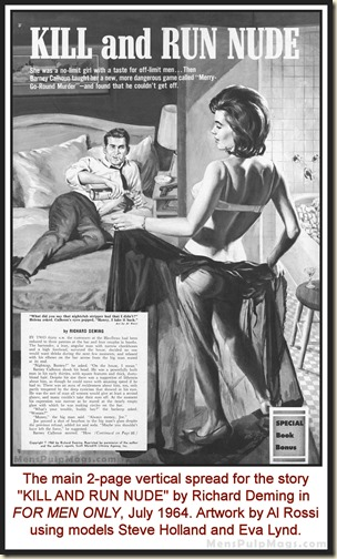 FOR MEN ONLY, July 1964, Al Rossi art, models Eva Lynd & Steve Holland WM2