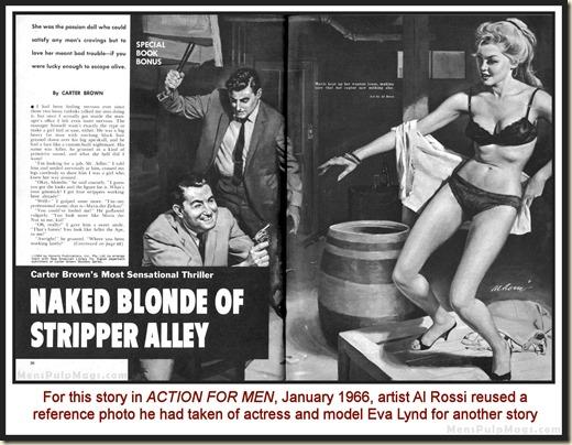 ACTION FOR MEN, Jan 1966, Al Rossi art, model Eva Lynd