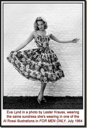 Eva Lynd in sundress, photo by Lester Krauss