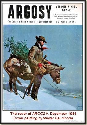 ARGOSY, Dec. 1954 - cover by Walter Baumhofer MPM