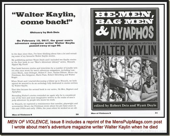 MEN OF VIOLENCE, Issue 8 - Walter Kaylin obit
