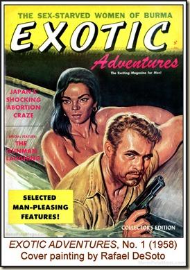EXOTIC ADVENTURES,  V1 N1 (1958) - Cover by Rafael DeSoto wm