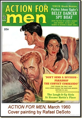 ACTION FOR MEN, March 1960, cover by Rafael DeSoto
