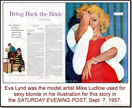 Eva Lynd by Mike Ludlow SAT POST, Sept 7, 1957 bd