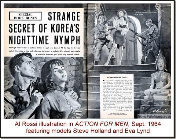 ACTION FOR MEN, Sept 1964, Al Rossi art, Steve Holland & Eva Lynd models