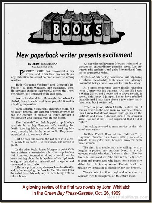 John Whitlatch Review, Green Bay Press Gazette 1969 MPM
